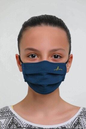 Haşema Lacivert Antimikrobiyal Sertifikalı Gümüş Iyonlu Yıkanabilir Maske 3