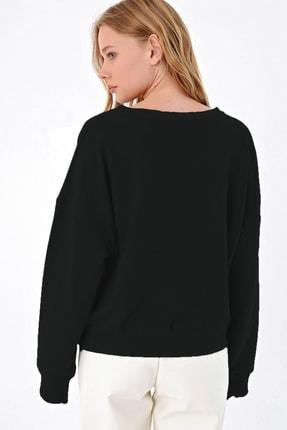 Trend Alaçatı Stili Kadın Siyah Önü Bağcıklı Oversıze Sweatshırt MDA-1029 1