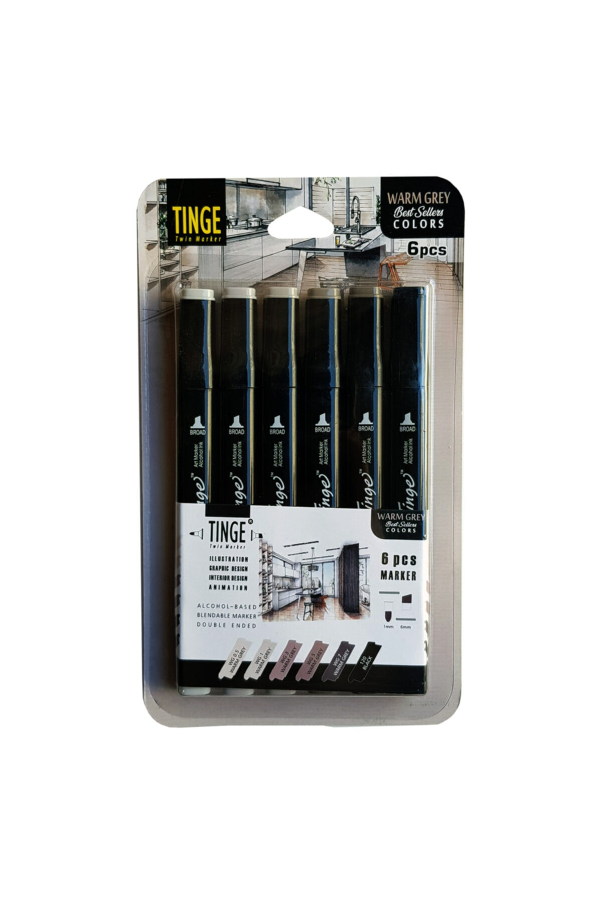 Tinge 6'lı Çift Uçlu Marker Seti Warm Grey (mwg6)