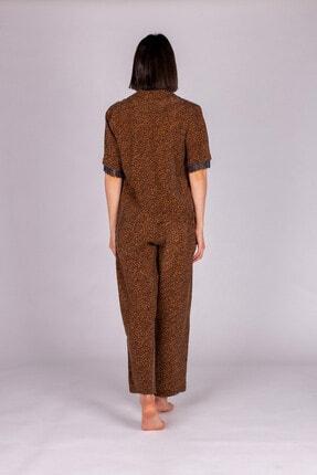 Hays Kadın Kahverengi Vegan Cupro Püskül Detaylı Pijama Takımı 2