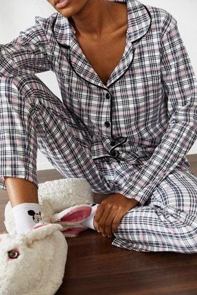 Xena Kadın Beyaz Kareli Örme Pijama Takımı 1KZK8-10834-01 0