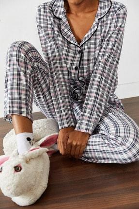 Xena Kadın Beyaz Kareli Örme Pijama Takımı 1KZK8-10834-01 3