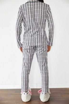 Xena Kadın Beyaz Kareli Örme Pijama Takımı 1KZK8-10834-01 4