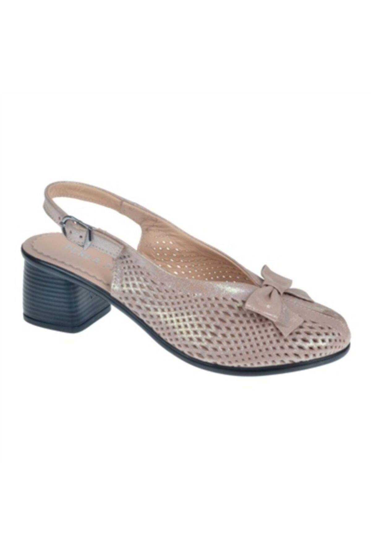 SHALİN Hakiki Deri Kadın Ayakkabı N-2063 Pudra Saten