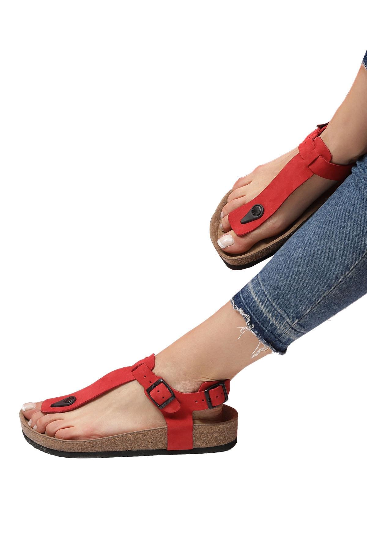 Bequemere Stella Mantar Tabanlı Hakiki Deri Parmak Arası Ortopedik Kadın Sandalet