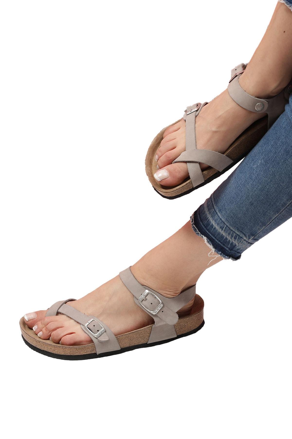 Bequemere Lyra Mantar Tabanlı Hakiki Deri Parmak Arası Ortopedik Kadın Sandalet