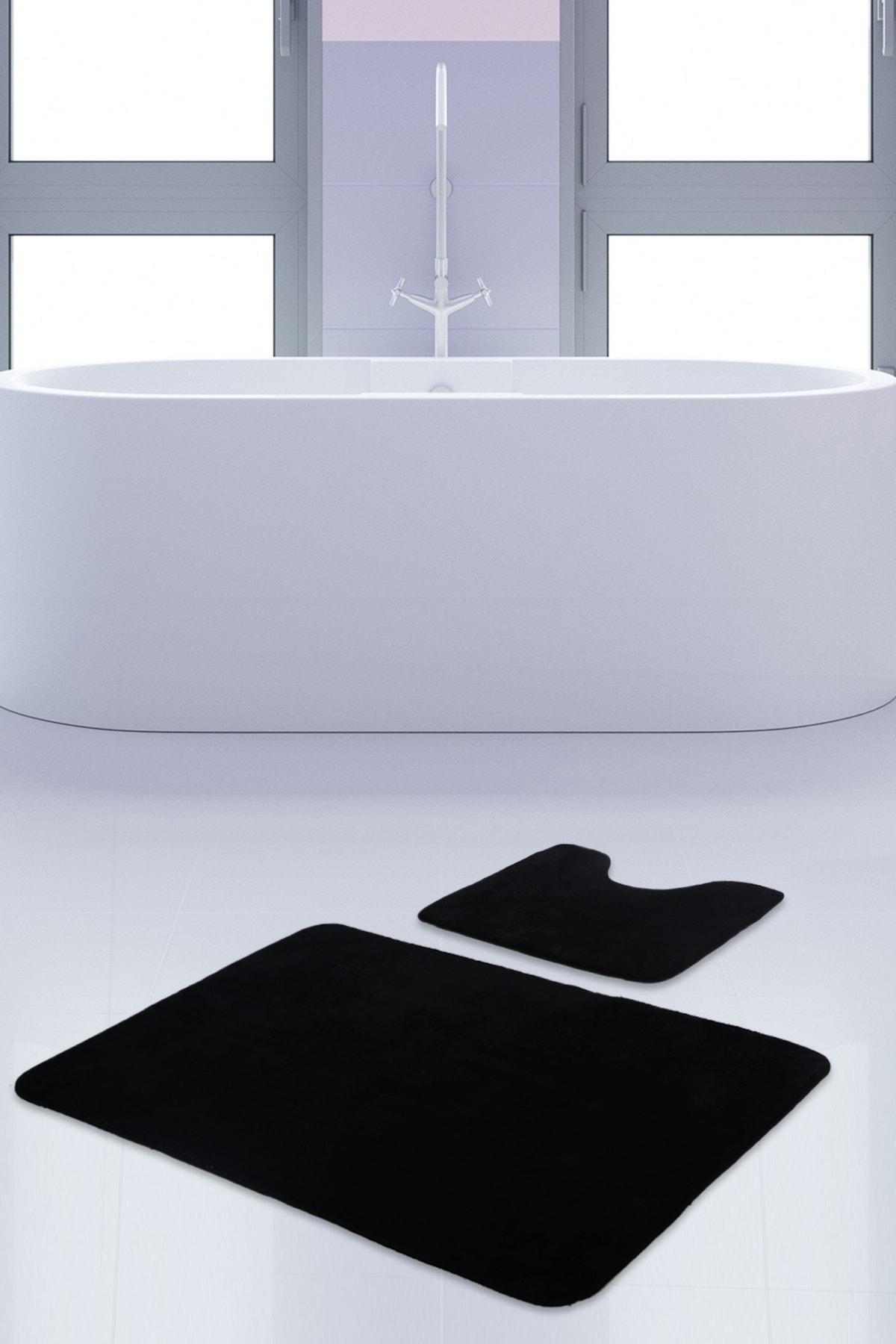 Unicolor Düz Siyah 2li Banyo Paspası Halısı Seti Kaymaz Klozet Taban Takımı