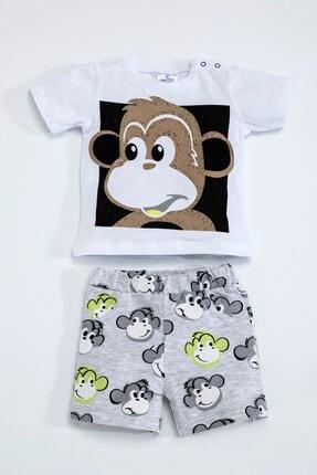 Luggi Baby Erkek Kız Bebek Maymunlu Beyaz Gri Şort Takım 5097 0