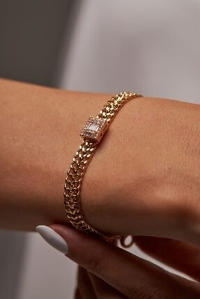 Merias Design Kadın Tasarım Altın Kaplama Zirkon Taşlı Gold Bileklik 2