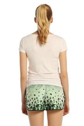 Mossta Kadın Yeşil Çiçek Desen Deniz Şortu 2