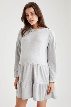 Defacto Kadın Gri Volan Detaylı Hamile Sweat Elbise 2
