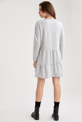 Defacto Kadın Gri Volan Detaylı Hamile Sweat Elbise 3