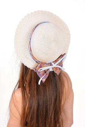 Mossta Kadın Bej Çiçek Detay Hasır Şapka 1