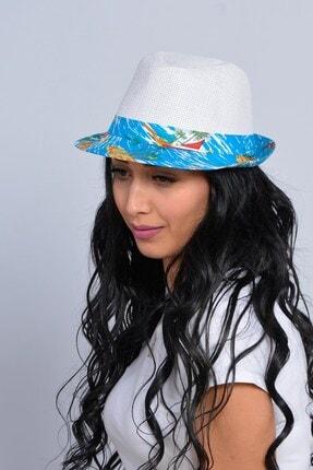 Mossta Unisex Beyaz Yelken Şeritli Hasır Şapka 1
