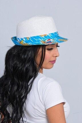 Mossta Unisex Beyaz Yelken Şeritli Hasır Şapka 3