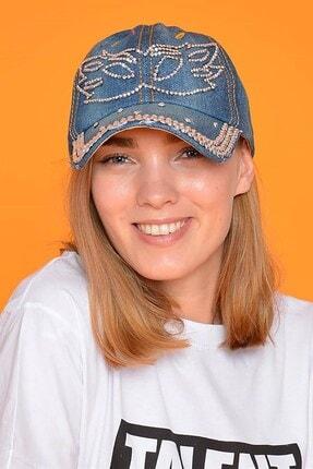 Mossta Kadın Lacivert Maske Taşlı Kot Şapka 0