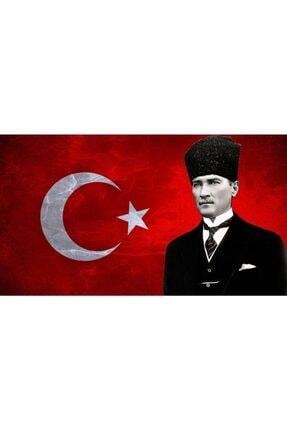 GENC DIJITAL BASKI Atatürk Ve Türk Bayrağı Kanvas Tablo 50x80 2
