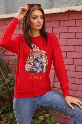 Alegria Kadın Kırmızı Önü Baskılı Pul Taş İşlemeli Sweatshirt 1