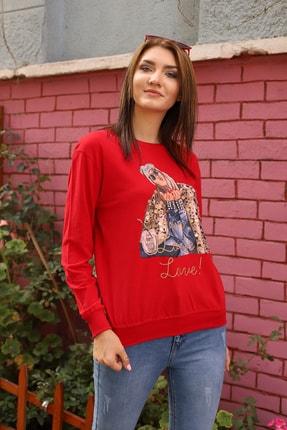 Alegria Kadın Kırmızı Önü Baskılı Pul Taş İşlemeli Sweatshirt 3