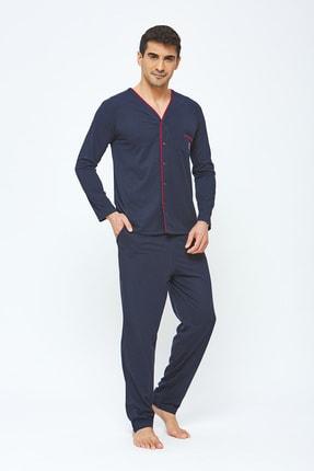 Erkek 4 Mevsimlik Pamuklu Önden Düğmeli Büyük Beden Pijama Takımı - Lacivert resmi