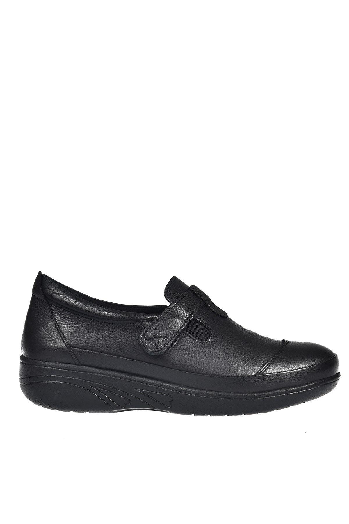 Üçel 2701 Hakiki Deri Kadın Ayakkabı Siyah Garni
