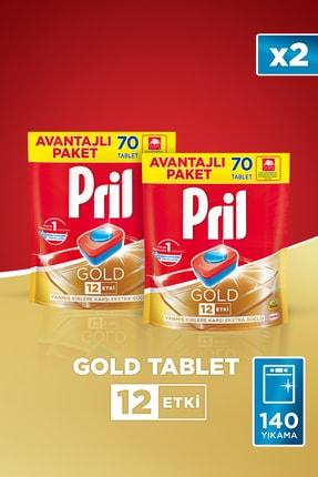 Pril Gold Bulaşık Makinesi Deterjanı, 70 Tablet 2'li Set + 22 cm Papilla Tava Hediyeli 2