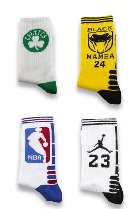 Socksarmy Unisex Boston Jordan Nba Desenli 4' lü Teknik Basketbol Çorap Seti 0