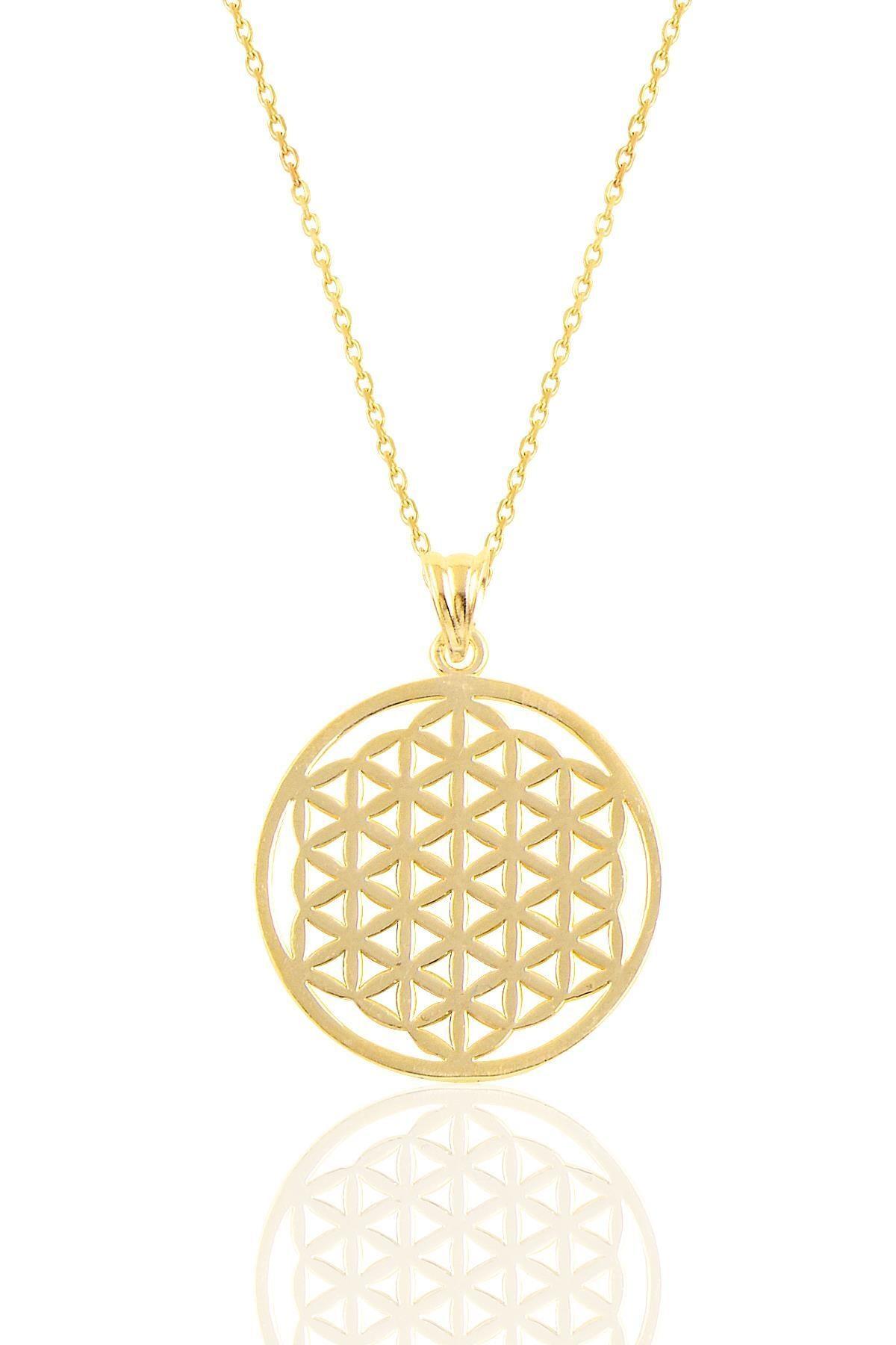 Söğütlü Silver Gümüş Altın Yaldızlı  Yaşam Çiçeği Kolye 0