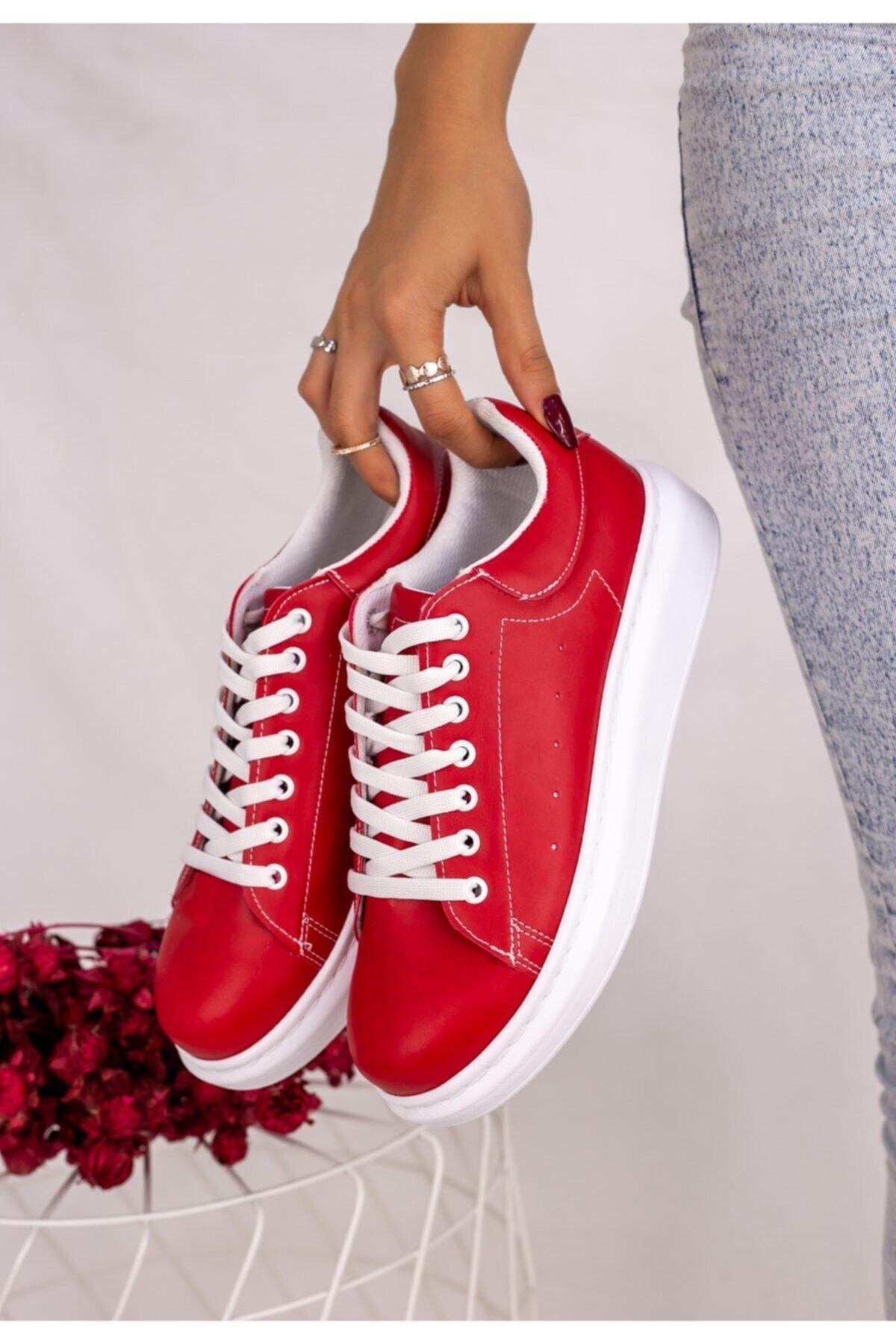 Erbilden Neomix Kadın Kırmızı Cilt Spor Ayakkabı