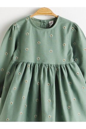LC Waikiki Kız Bebek Yeşil Baskılı Lrr Elbise 2