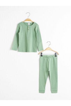 LC Waikiki Kız Çocuk Mat Yeşil Qtz Pijama Takımı 0