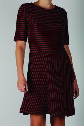 Blue Miles Kadın Kırmızı Lacivert Çizgili Bele Oturan Elbise 0