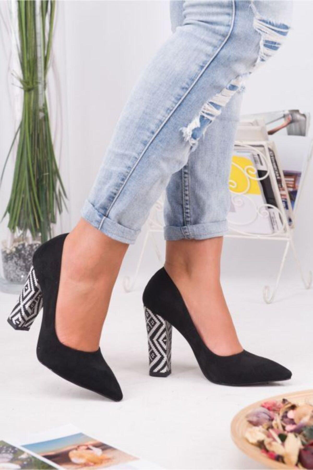 Topuk Sesim Kadın Siyah Süet Stiletto Ayakkabı