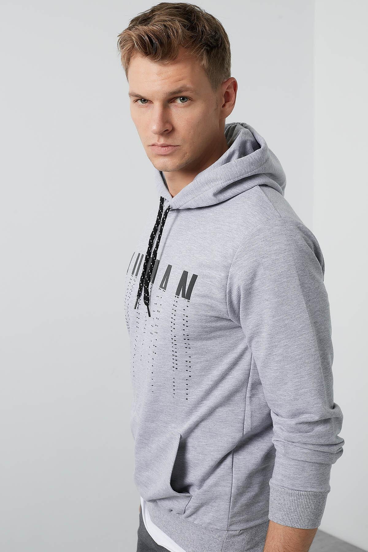Buratti Erkek Gri Ön Beden Baskılı Kapüşonlu Cepli Standart Fit Sweatshirt 541HUMAN 1