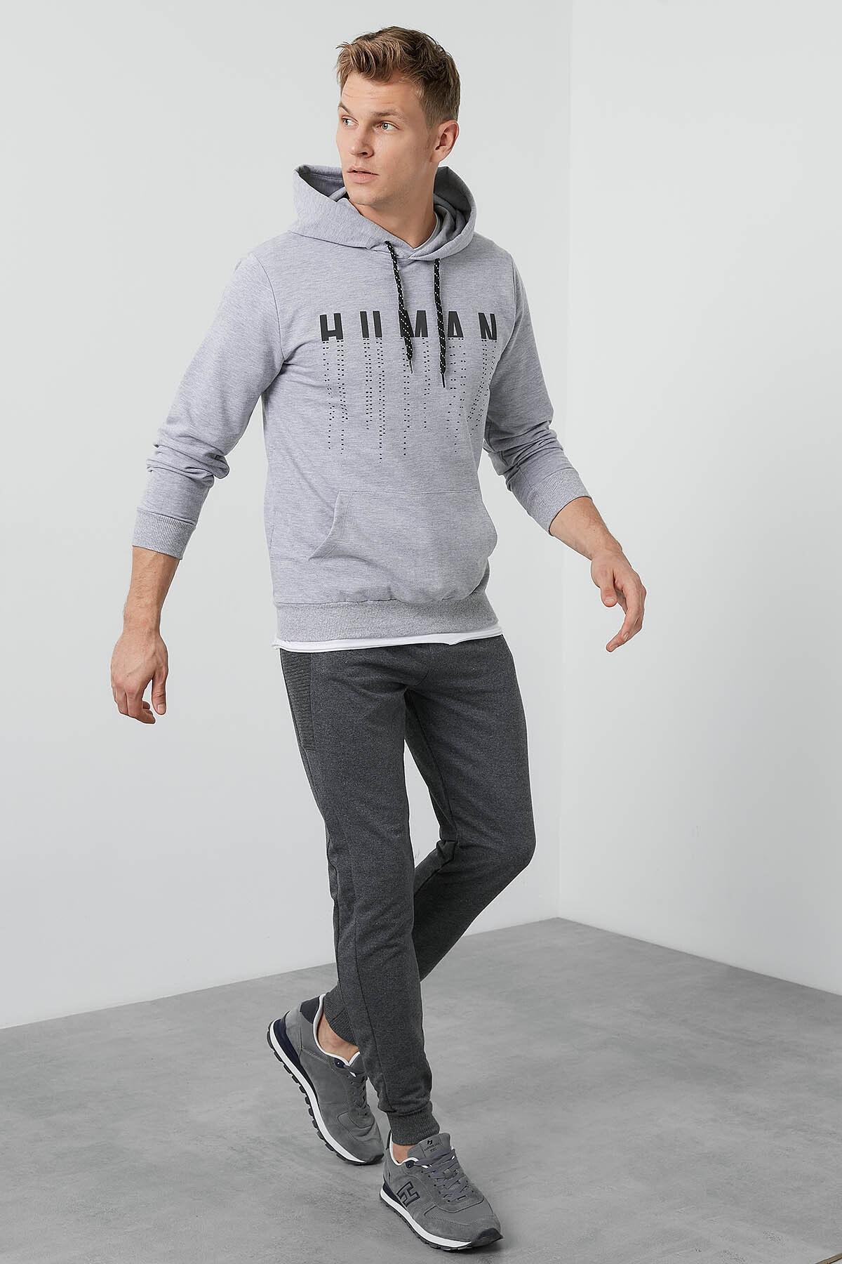 Buratti Erkek Gri Ön Beden Baskılı Kapüşonlu Cepli Standart Fit Sweatshirt 541HUMAN 2