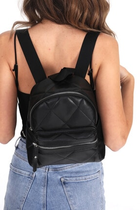 Top All BAG Kadın Siyah Kapitone Mini Sırt Çanta 0