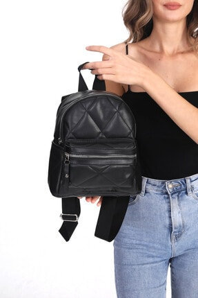 Top All BAG Kadın Siyah Kapitone Mini Sırt Çanta 2