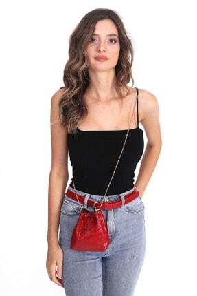 Top All BAG Kadın Kırmızı Bel ve Omuz Croco Çanta 2