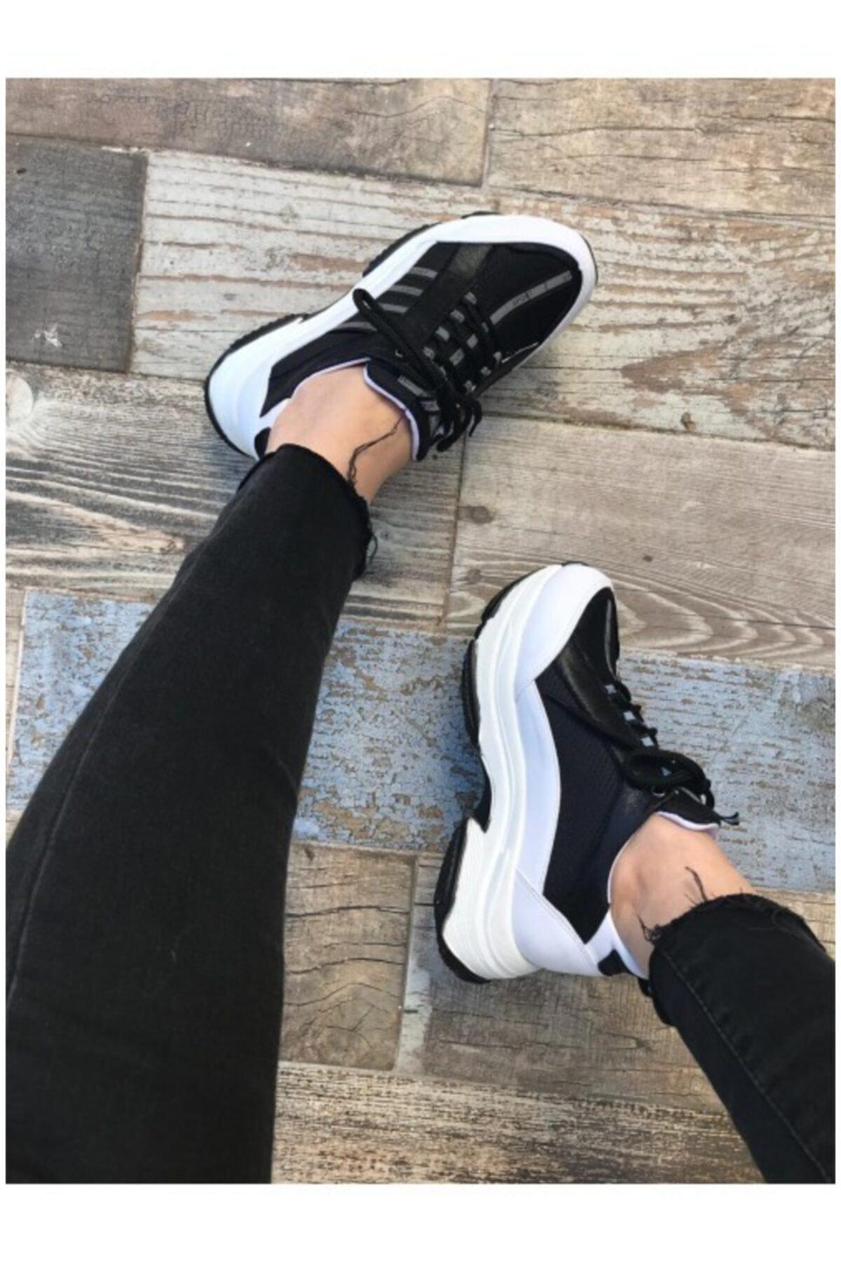 BY LENA SHOES Kadın Siyah Kalın Taban Spor Ayakkabı