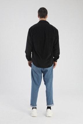 dAcollection Erkek Siyah Oversize Fitilli Kadife Gömlek 2