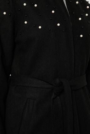 Tavin Kadın Siyah İnci Detaylı Astarlı Kaban 1709088 4