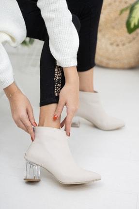 Moda Değirmeni Bej Cilt Kadın Şeffaf Topuk Bot Md1050-116-0001 1