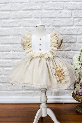 JBK JUST BABY AND KIDS STORE Kız Bebek Bej Dantelli Ayıcıklı Kabarık Etek Elbise 0