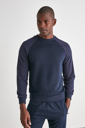 TRENDYOL MAN Lacivert Erkek Sweatshirt TMNAW21SW0911 1