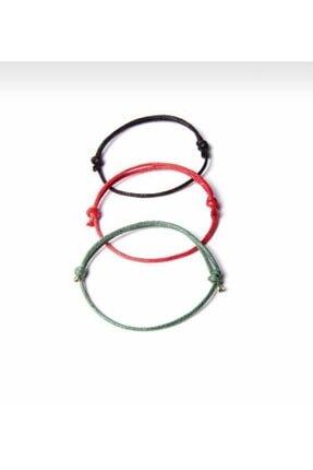Daphne Store Kalın Ip - Siyah,kırmızı,yeşil 3lü Bileklik 1