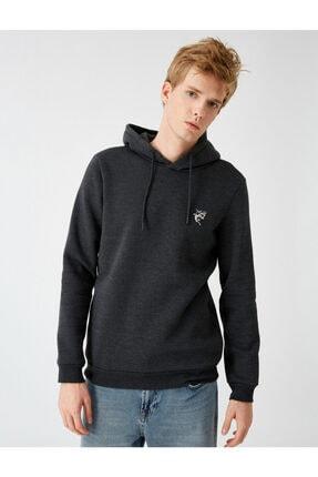Koton Erkek Gri Kapüşonlu İşlemeli Uzun Kollu Sweatshirt 2