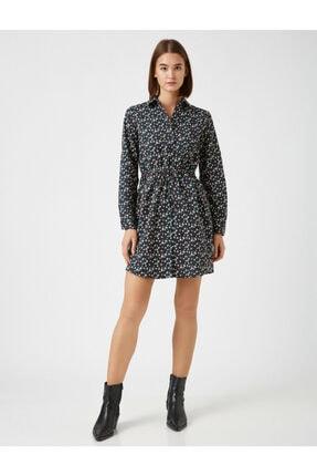 Koton Kadın Lacivert Pamuk Çiçekli Kisa Elbise 2