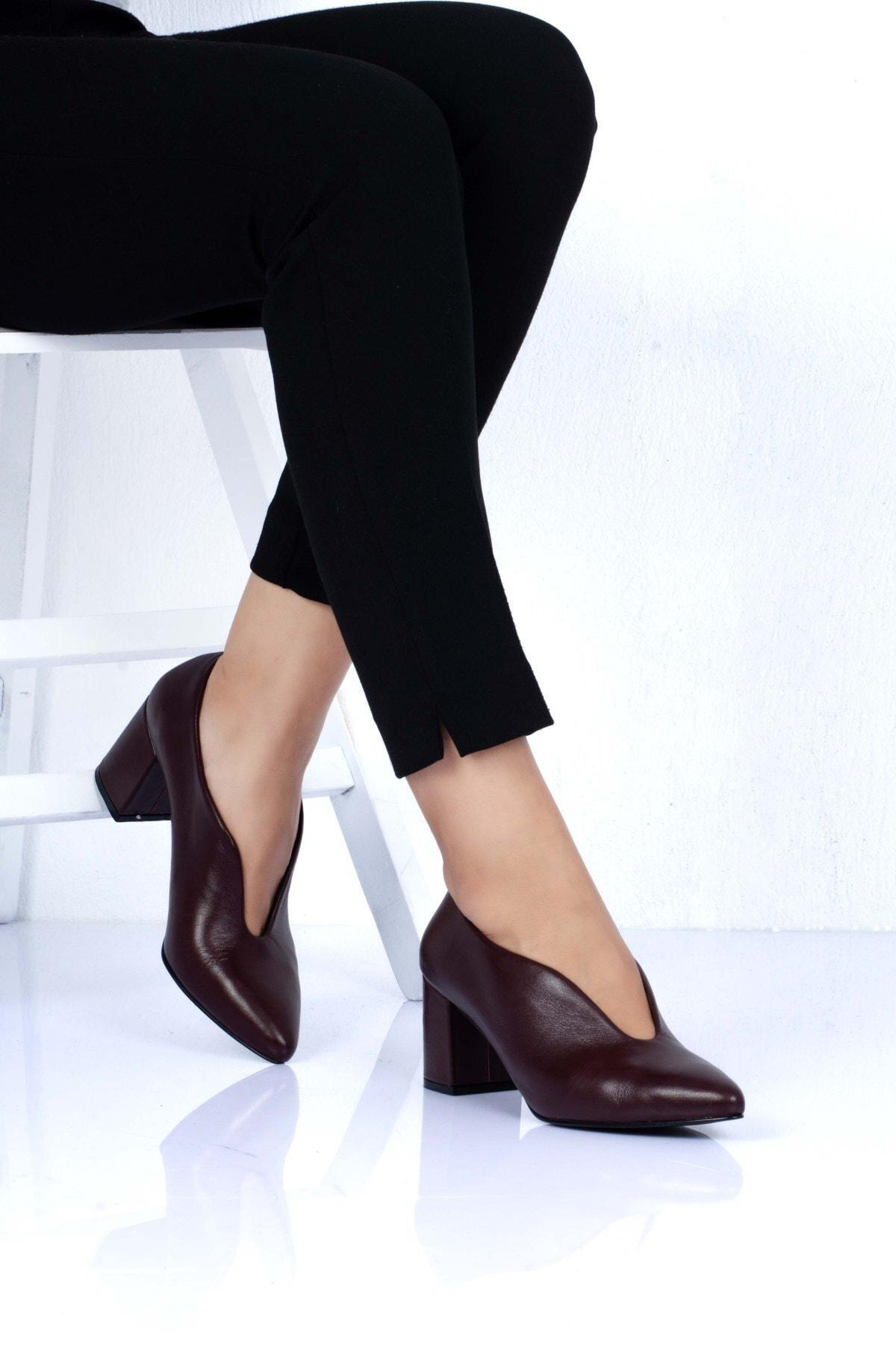 hepsipabuc Kadın Bordo Klasik Topuklu Ayakkabı