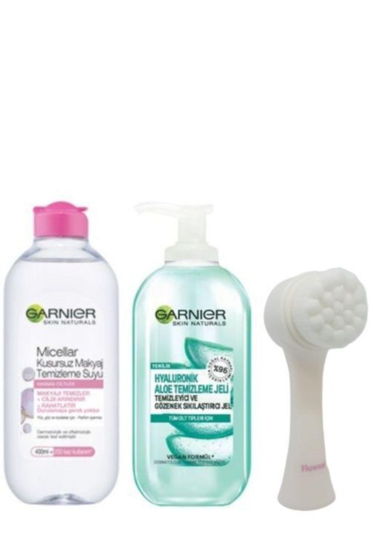 Garnier Makyaj Temizlik Suyu 400 ml  Hyaluronik Aloe Temizlik Jeli 200 Ml Fluweel Yüz Temizlik Fırçası