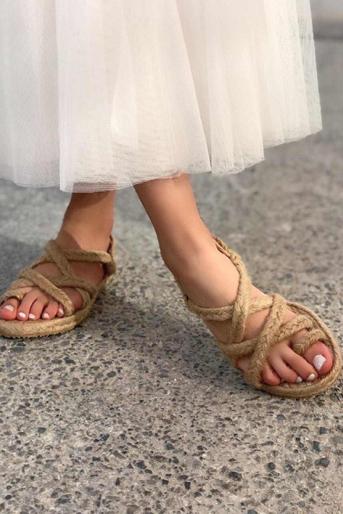 Hepsi Moda Kadın Hasır Naturel Halat Sandalet